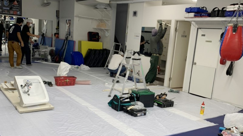 更衣室を個室にして感染予防対策